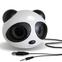 Wholesale active desktop - Wholesale- Mini Panda Shape USB 2.0 Portable Active Speaker Stereo Speaker for Laptop Notebook Desktop Cellphone