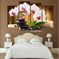 Wholesale Modern Abstract Flower Canvas Paintings - Top Wall Deocr Canvas Painting 4 Pcs Spa Stone Flower Modern Printed Oil Pictures Beauty In Home Living Room No Frame Size 12 By 32
