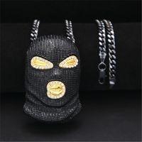 pingentes máscara venda por atacado-Mens New CSGO Pingente de Colar de Prata Banhado A Ouro Máscara Preta Cabeça Charme Pingente 70 cm de Cobre Cuba Longa Cadeia Colar Estilo Punk Jóias