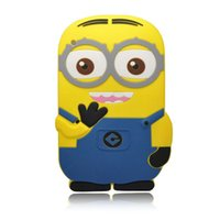 Wholesale Despicable Silicon - Wholesale-Fashional new arrival cute cartoon model Despicable Me Yellow Minion silicon material case Stand cover for ipad 2 3 4 PT1018
