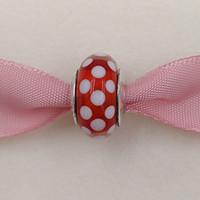collar de murano joyas al por mayor-Auténticos 925 Sterling Silver Beads Murano Charm Disny Polka Dots Se adapta a European Pandora Style Jewelry Pulseras Collar 791635 murano de vidrio