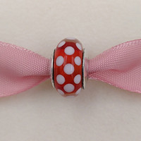 Wholesale fusing silver - Authentic 925 Sterling Silver Beads Murano Charm Disny Polka Dots Fits European Pandora Style Jewelry Bracelets Necklace 791635 murano glass