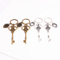 Wholesale Key Chain Crown - SWEET BELL 3pcs lot Metal Alloy Zinc Key Chain Fit Round 12.5mm Cabochon Base Crown Key Charm Pendant Diy Jewelry Making C0887