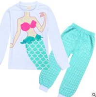 Wholesale Kids Free Shipping Pajama - Kids Clothing Mermaid Pajamas Kids Girls Sets Princess Infantil Sleepwear Home Clothing Cartoon Baby Pajama DHL Free Shipping
