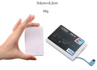 Wholesale Small Power Bank - 2600mah Ultra Thin Credit Card Power Bank 2500mAh USB Promotion PowerBank with Built In USB Cable Backup Emergency Super Light Small