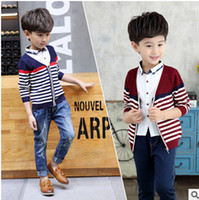 Wholesale Two Color Cardigan Sweater - Kids autumn clothing fashion 2017 new children stripe sweater boy fake two piece leisure outwear kids cotton knitting sweater cardigan T4000