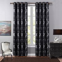 Wholesale Quality Curtain Rods - High Quality Classical European Style Curtains One Panel Jacquard Curtain For Living Room Black Bedroom Polyester Blackout Curtain Drapes