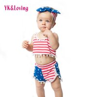 Wholesale Children July 4th - 4th of July Outfits Girls Clothes Children Set Baby Clothing Sets Summer Style Cotton 1-4 Years