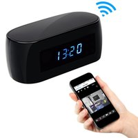 Wholesale 32GB P WiFi Hidden Camera Alarm Clock Nanny Wireless Security Surveillance Spy Cam Video Recorder With Motion Detection Night Vision