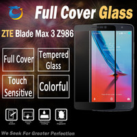 Wholesale Zte Blade Covers - Full Cover Tempered Glass For ZTE Blade Max 3 Z983 V8 with retail plastic packing