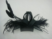 Wholesale Black Veil Hair Clip - Free shipping Black Party Cocktail Women Fascinator Party Wedding Feather Veil Hats bridal headwear Hair Clip In Stock multiple Colors L01