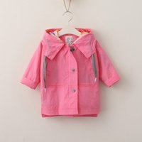 Wholesale Girls Pink Trench Coats - Everweekend Boys Girls Cotton Trench Jackets with Hats Gray and Pink Color Cute Children Fall Winter Outwears Western Korea Coat