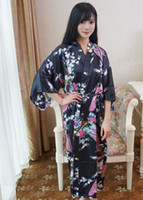 Wholesale Chinese Wedding Ladies Dress - Wholesale- Black Chinese Lady Bathrobe Silk Rayon Long Kimono Bath Gown Bridesmaid Wedding Sexy Nightgown Dress One Size T031