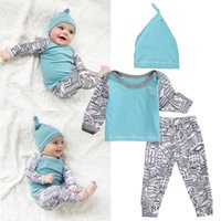 Wholesale build hat - 2017 Lovely Baby Girl Boy Building Pattern Long Sleeve Tops+Pants+Blue Hat Outfits Kid Clothing3Pcs Set Age 0-18M