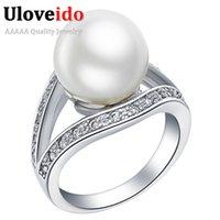 Wholesale White Pearl Finger Ring - White Black Red Shell Powder Simulated Pearl Party Fashion Big Rings for Anel Women Finger 925 Sterling Silver Ring Share J381
