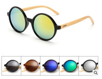 Wholesale Wholesale I Love Haters Products - 2017 New Fashion Products Men Women Sun Glasses Bamboo Sunglasses Retro Vintage Wood Lens Wooden Frame Handmade Round 1527