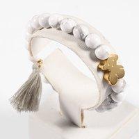 Wholesale Handmake Bracelet - TL Natural Handmake Stone Bear Bracelet Nobel Gold Silver Filled Bear Pendant Bracelet For Women Jewelry