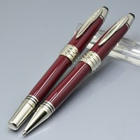 Wholesale Roller Clips Metal - luxury JFK red metal ballpoint pen   roller ball pen with Silver Clip school Office Stationery lady Writing ball pens gift M8