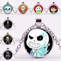 Wholesale Thanksgiving Skull Glasses - Undertale Cabochon Necklace Undertale Frisk Toriel Sans Papyrus Undyne Chara Skull Pendant Glass Necklace Women Jewelry Silver Bronze 162036