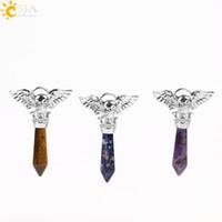 erkekler için opal mücevherat toptan satış-CSJA Biker Punk Kafatası Başkanı Kolye Döküm Kolye Erkekler Kadınlar Takı için Doğal Şifa Yarı Değerli Taş Yaz Moda Koleksiyonu E576 B