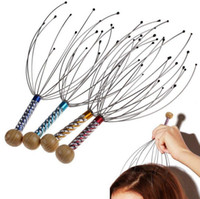 Wholesale Octopus Head Massager Wholesale - Pro Head Neck Scalp Relax Massager Stainless Steel Head Massage Octopus Equipment Stress Release Tool OOA2218