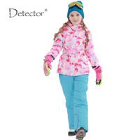 Wholesale Gold Silver Detectors - Wholesale- Detector Girls ski jacket Winter Outdoor Children Clothing Set Windproof Ski Jackets + Pants Kids Warm Skiing Suit For Girls