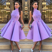 Wholesale Knee Length Teen Dresses - Celebrity High Neck Prom Dresses 2017 Short A-Line Tea-Length Fashion Party Dress With Applique Teen Girl Evening Gowns Cocktail Dresses