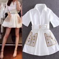 Wholesale Short Sleeve White Women Shirts - Mini Shirt Dress Embroidered White Belt Tunic Linen Turn-Down Collar Short Sleeve High Quality Women Sundress free shipping