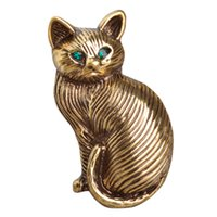 Wholesale Green Women Cat Suits - Wholesale- Cute Green Crystal Eyes Cat Brooches For Women Kids Antique Gold Plated Cartoon Pet Brooch Suit Lapel Pins Vintage Broche Mujer