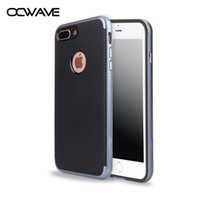 Wholesale Iphone Silicone Case Metal Button - OCWAVE Luxury Case for iPhone 7 Plus 6 6S 5 5S silicone with PC material cover carbon fiber & metal button design