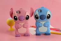 Wholesale Iphone 5s Lilo Stitch - 3D Cartoon Lilo & Stitch Soft Silicone Case For iPhone 6 6S 7 Plus 4 4s 5 5s SE 6 6s Plus Air Stogdill Silicone Movable Ear Case