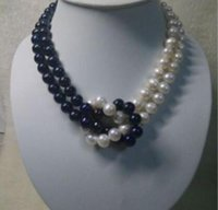 ingrosso disegni perla nera-Collana a due fili con perle Akoya coltivate in bianco e nero a 2 fili da 8-9 mm