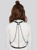 Wholesale Upper Body Harness - Wholesale- Sexy fashion adjustable leather chain body harness , night out decorative bondage straps on upper body in black