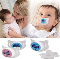 Wholesale Nipple Digital Lcd Pacifier Thermometer - Baby Pacifier Thermometer Toddler Baby Soother Pacifier Oral Thermometer LED Safety Temperature LCD Digital Mouth Nipple Thermometer OOA3119
