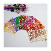 sacos de armazenamento de tecido zip venda por atacado-Sacos de presente de Casamento por atacado de Vendas Quentes Organza Jóias Presente Bolsa Sacos Com Cor Misturada Tamanho 9 * 7 CM Moda Favor Beads Jóias Frete Grátis