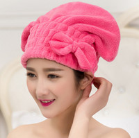 Wholesale Fiber Absorption - Wholesale- Sweet Candy Color Bow Water Absorption Superfine Fiber Hair Dry Cap Shower Cap Bathroom Cap