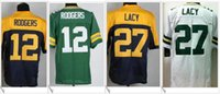 Wholesale Aaron Rodgers Jersey Football - Green bay #12 Aaron Rodgers 27 Eddie Lacy American College Football Stitched Embroidery Elite Mens Sports Pro Team Jerseys Sz S-XXXL on sale