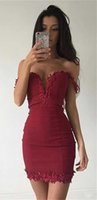 Wholesale Cocktail Prom Dress Sale - Red Short Cocktail Dresses 2017 Off the Shoulder Sweetheart Above Knee Length with Applique Best Sale Zipper Back Mermaid Junior Prom Dress