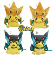Wholesale poke center plush - 4designs Poke Center Mega Tokyo Pikazard Pikachu Charizard Magikarp Brinquedo Plush Toys Stuffed Doll plush toys gifts