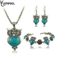 Wholesale Tibetan Owl Necklace - Yumfeel Brand Design Owl Jewelry Set Tibetan Vintage Silver Turquoise Stone Pendant Owl Necklace Earring Bracelet Set