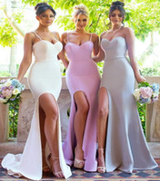 Wholesale mermaid brides maids dresses - 2017 Sexy Summer Weddings Mermaid Side Split Bridesmaid Dresses Backless Spaghetti Straps Plain Bride Wedding Reception Maid of Honor Gowns