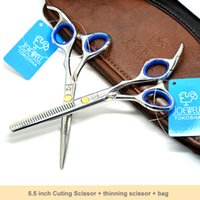 """Wholesale Hairdressers Kit - Free Shipping:5.5"""" Professional Barber Scissors Set Haircut Scissors for hairdresser salons using Cutting +Thinning shears Kit"""
