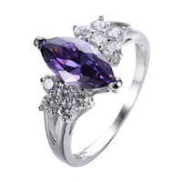 Wholesale 18k Gold Plated Amethyst Ring - Elegant Purple Geometric Ring Vintage Wedding Rings For Women 2017 Christmas Eve Gift Fashion White Gold Filled Jewelry RW0173