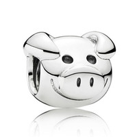 Wholesale Pig Cute Love - Authentic 925 Sterling Silver Animal Bead Charm Cute Playful Pig Beads Fit Women Pandora Bracelet Bangle Diy Jewelry HKA3330