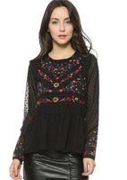 Wholesale Shirt Chiffon Retro Dot - Women vintage floral embroidery pleated chiffon shirts transparent sexy dots long sleeve retro blouse casual tops blusas