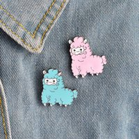 Wholesale Drip Needle - Wholesale 5pcs s - new drops of oil dripping Meng cute sheep baby metal animal cartoon brooch needle button boy and girl decoration children