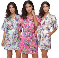 Wholesale Satin Silk Robe - Women Flower Satin Short Kimono Robe Bridesmaid silk like Floral Print Bathrobe Lady Loose Nightgown Sleepwear Dressing Gown