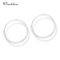 Atacado- 6 Tamanho Real 925 Sterling Silver Round Circles Small Endless Hoops Earrings For Women Baby Girls Kids Piercing Body Jewelry Gifts