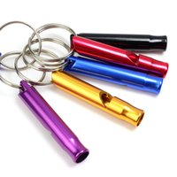 Wholesale Small Survival Whistle - free shipping Mini Aluminum Whistle Dogs For Training With Keychain Key Ring Outdoor Survival Emergency Exploring