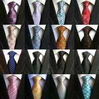 Wholesale Dark Purple Silk Tie - 185 Color Men Ties Neckties Slim Paisley Silk Ties Fashion Classic Handmade Wedding Tie Business Tie Paisley Ties Stripes Plaids Dots 16pcs